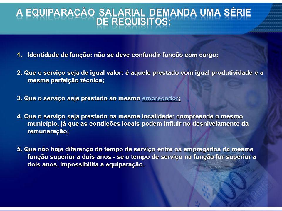 A equiparação salarial demanda uma série de requisitos: