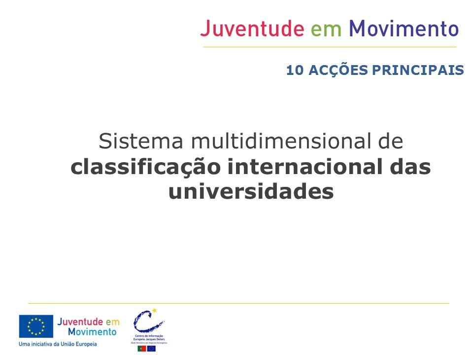 10 ACÇÕES PRINCIPAIS Sistema multidimensional de classificação internacional das universidades