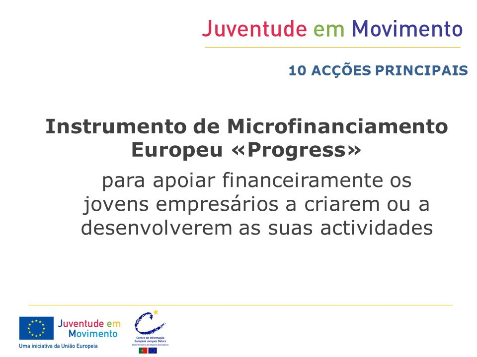 Instrumento de Microfinanciamento Europeu «Progress»