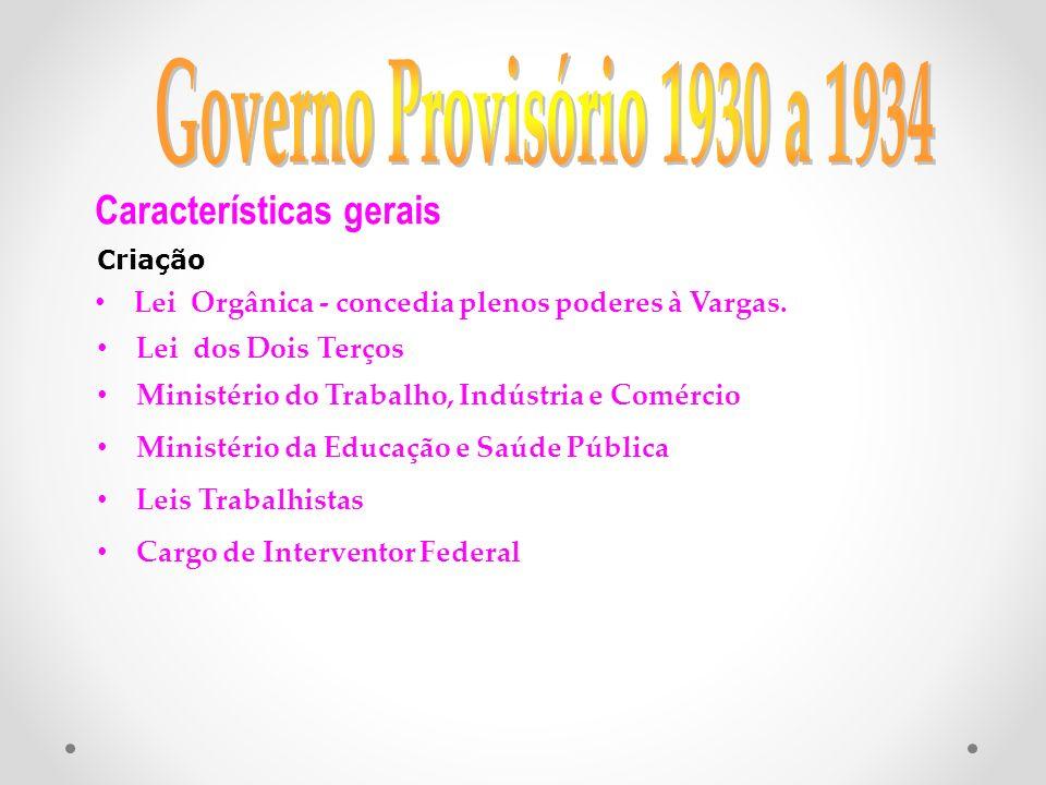 Governo Provisório 1930 a 1934 Características gerais