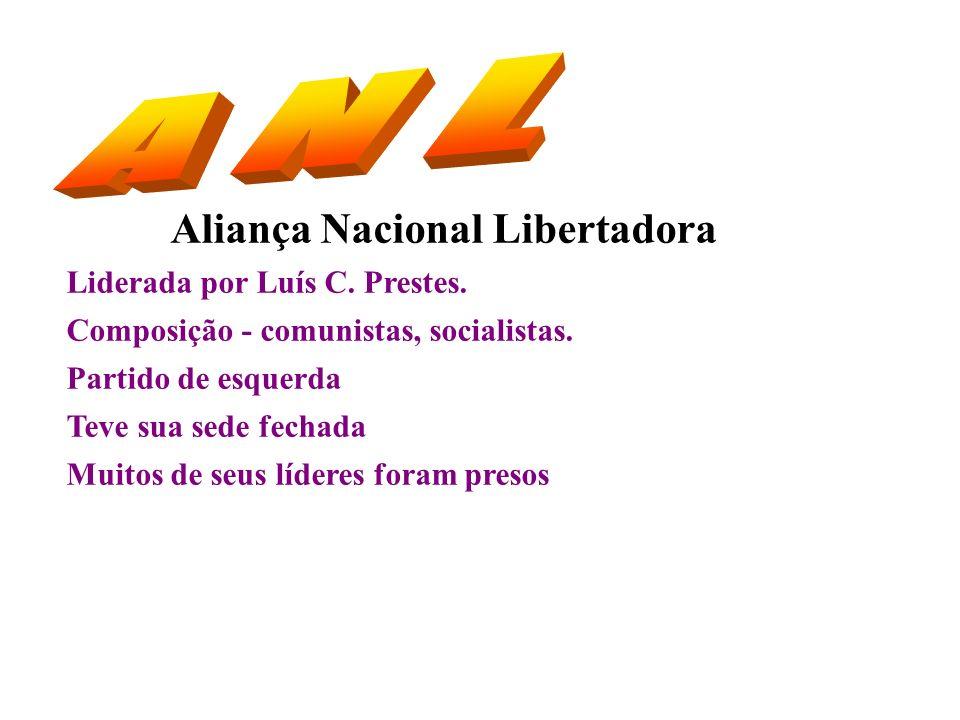 A N L Aliança Nacional Libertadora Liderada por Luís C. Prestes.