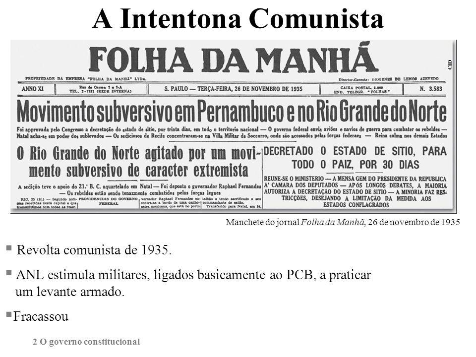 A Intentona Comunista Revolta comunista de 1935.