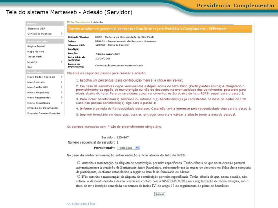 Tela do sistema Marteweb - Adesão (Servidor)