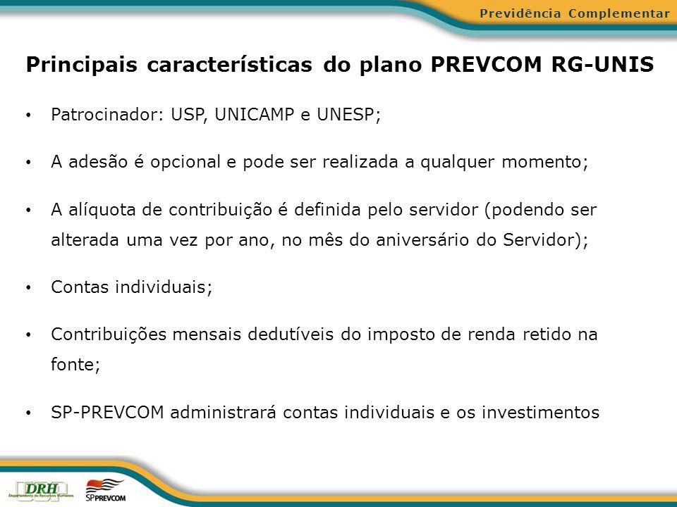 Principais características do plano PREVCOM RG-UNIS