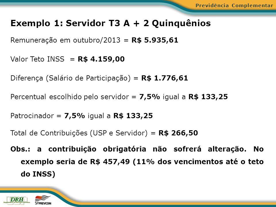 Exemplo 1: Servidor T3 A + 2 Quinquênios
