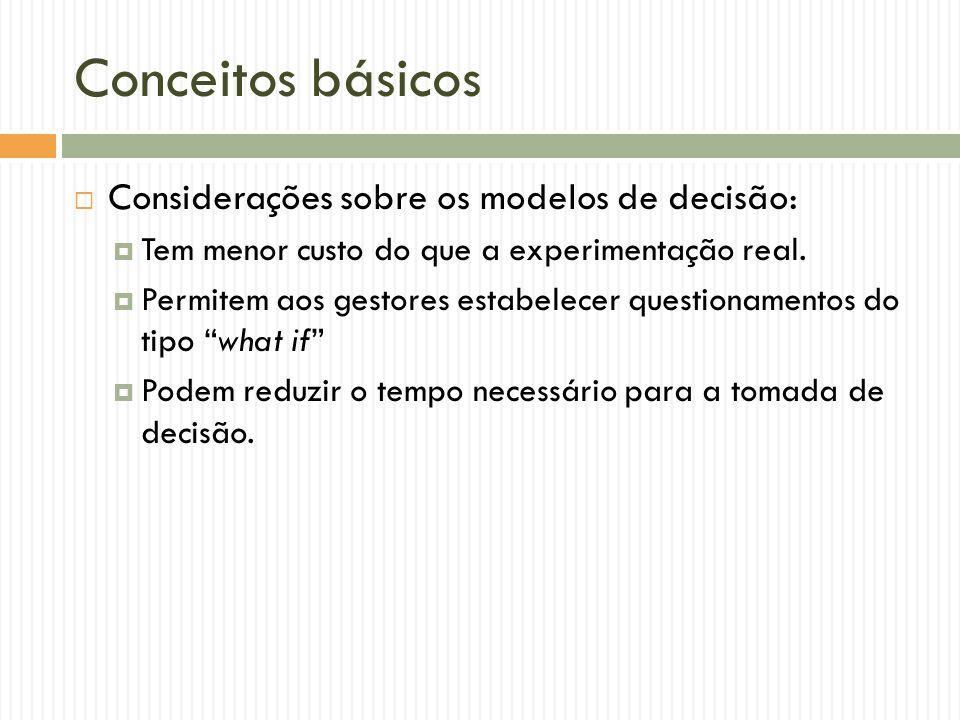Conceitos básicos Considerações sobre os modelos de decisão: