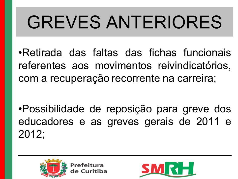 GREVES ANTERIORES Retirada das faltas das fichas funcionais referentes aos movimentos reivindicatórios, com a recuperação recorrente na carreira;