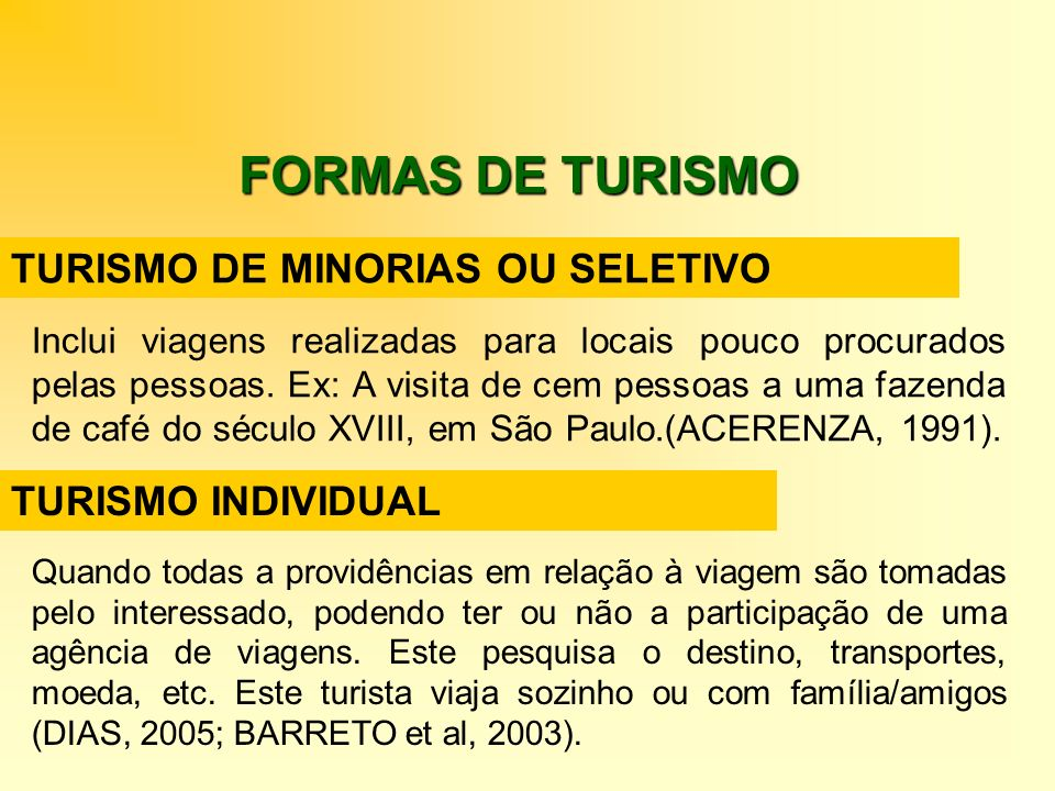 FORMAS DE TURISMO TURISMO DE MINORIAS OU SELETIVO TURISMO INDIVIDUAL