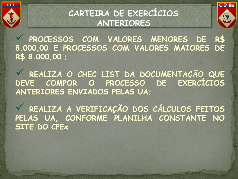 CARTEIRA DE EXERCÍCIOS ANTERIORES