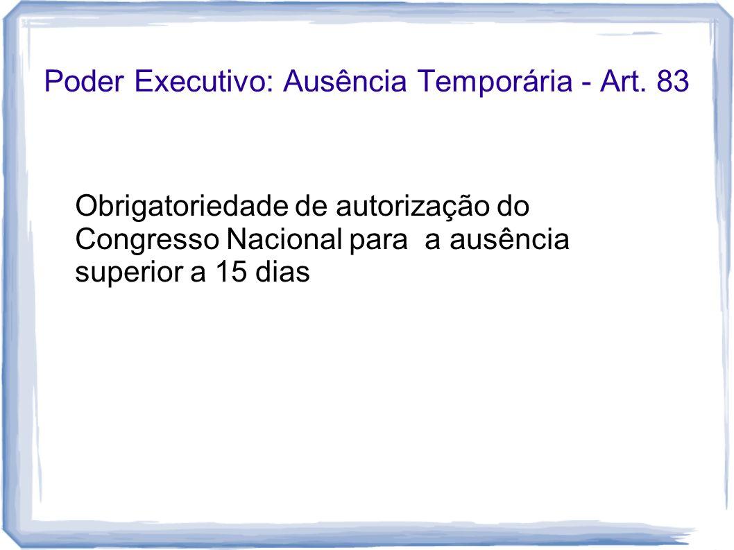 Poder Executivo: Ausência Temporária - Art. 83