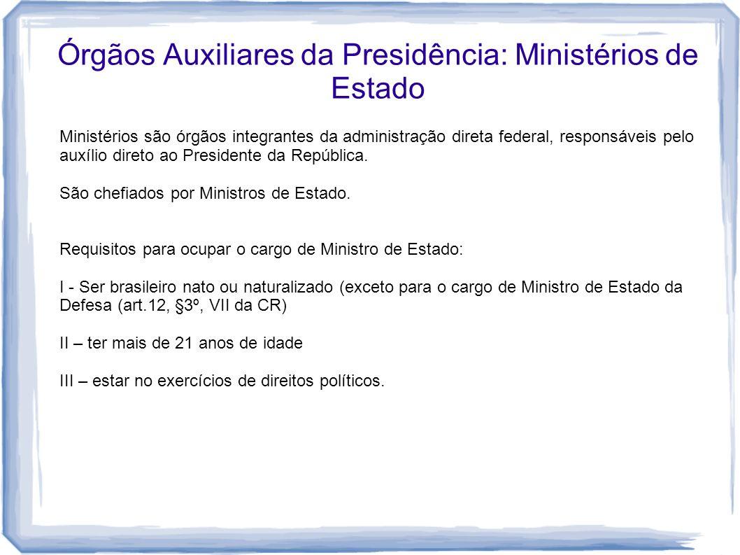 Órgãos Auxiliares da Presidência: Ministérios de Estado