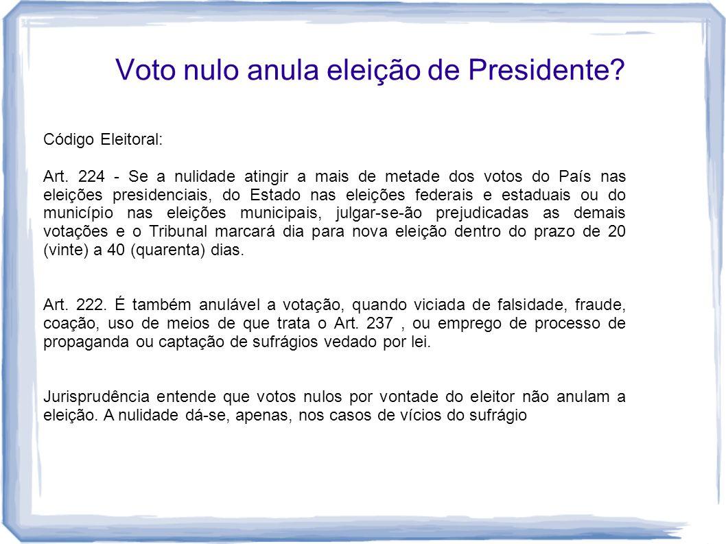 Voto nulo anula eleição de Presidente