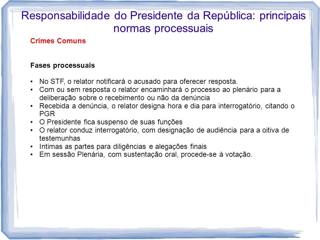 Responsabilidade do Presidente da República: principais normas processuais