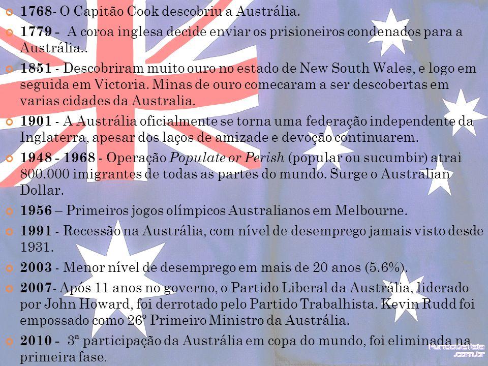 1768- O Capitão Cook descobriu a Austrália.