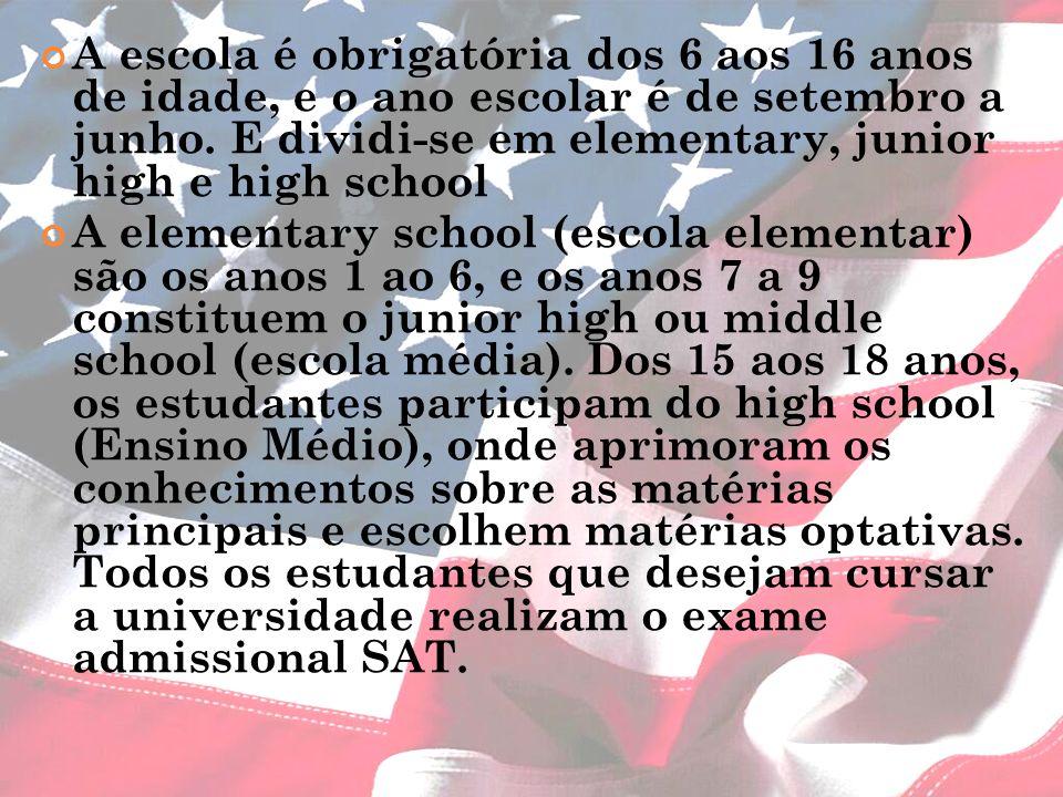 A escola é obrigatória dos 6 aos 16 anos de idade, e o ano escolar é de setembro a junho. E dividi-se em elementary, junior high e high school