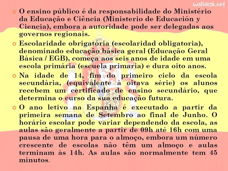 O ensino público é da responsabilidade do Ministério da Educação e Ciência (Ministerio de Educación y Ciencia), embora a autoridade pode ser delegadas aos governos regionais.