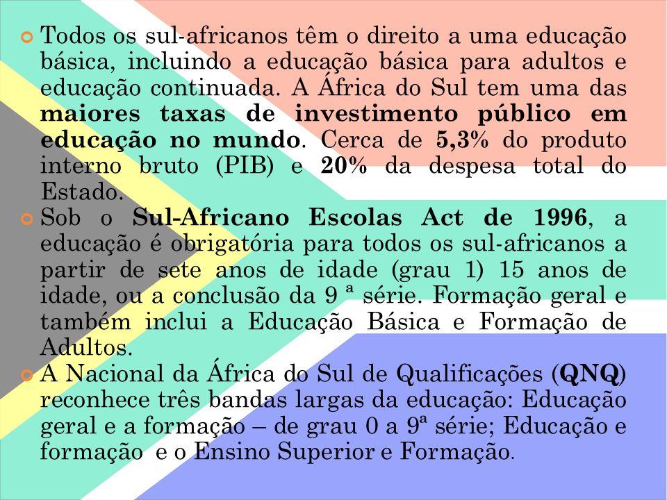 Todos os sul-africanos têm o direito a uma educação básica, incluindo a educação básica para adultos e educação continuada. A África do Sul tem uma das maiores taxas de investimento público em educação no mundo. Cerca de 5,3% do produto interno bruto (PIB) e 20% da despesa total do Estado.