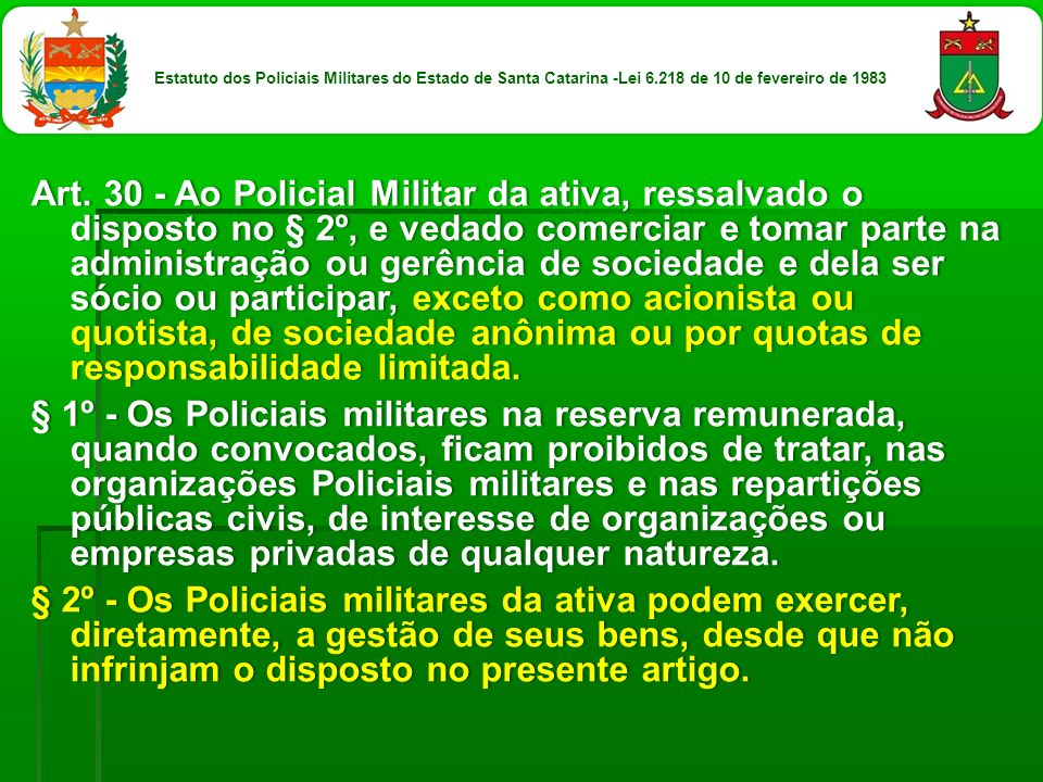 Estatuto dos Policiais Militares do Estado de Santa Catarina -Lei 6