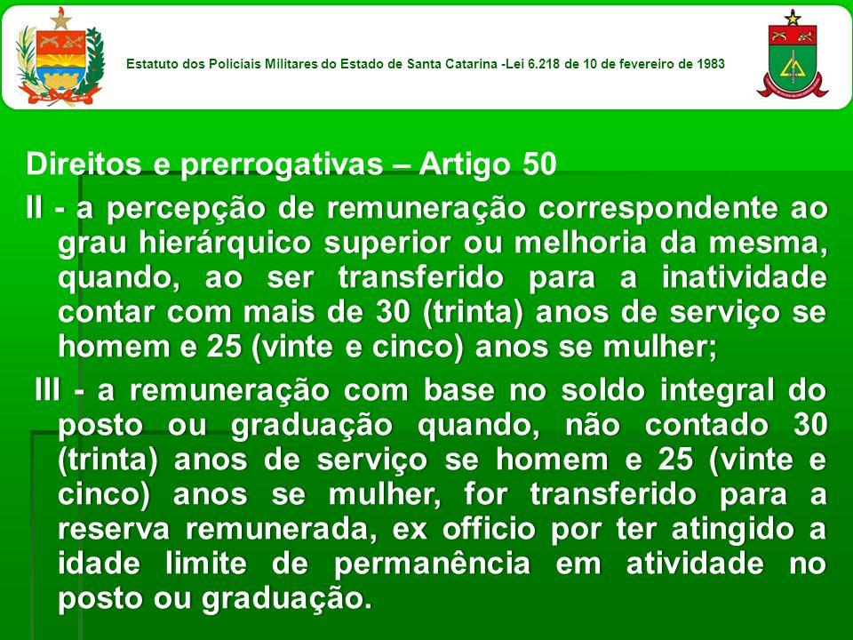 Direitos e prerrogativas – Artigo 50