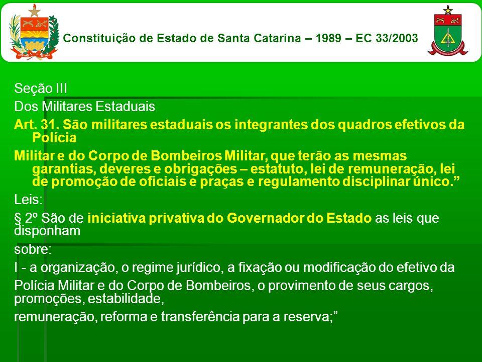 Constituição de Estado de Santa Catarina – 1989 – EC 33/2003
