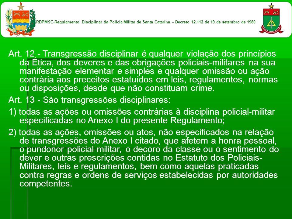 Art. 13 - São transgressões disciplinares: