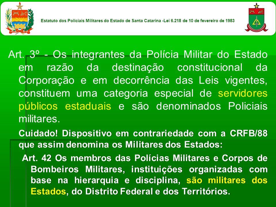 Estatuto dos Policiais Militares do Estado de Santa Catarina -Lei 6
