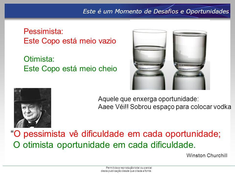 O pessimista vê dificuldade em cada oportunidade;