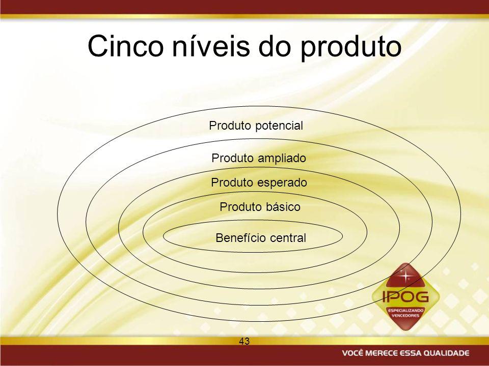 Cinco níveis do produto