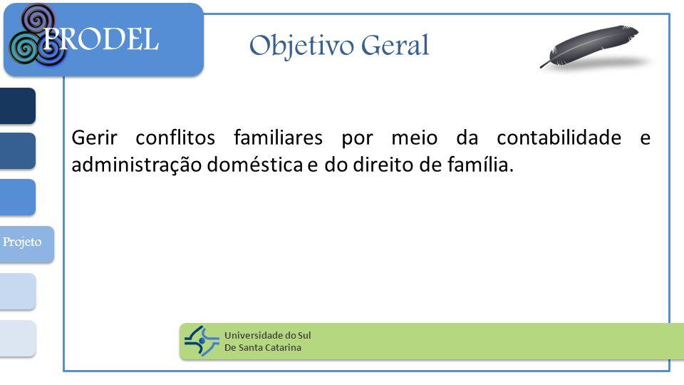 PRODEL Objetivo Geral. Gerir conflitos familiares por meio da contabilidade e administração doméstica e do direito de família.