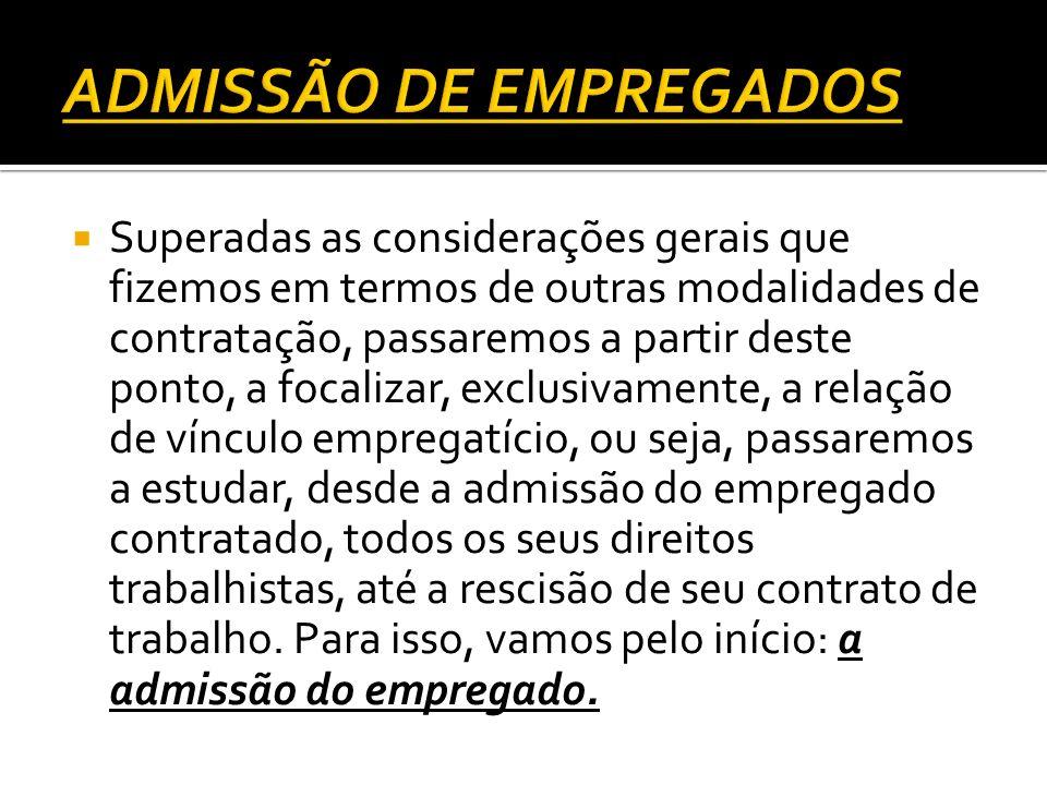 ADMISSÃO DE EMPREGADOS
