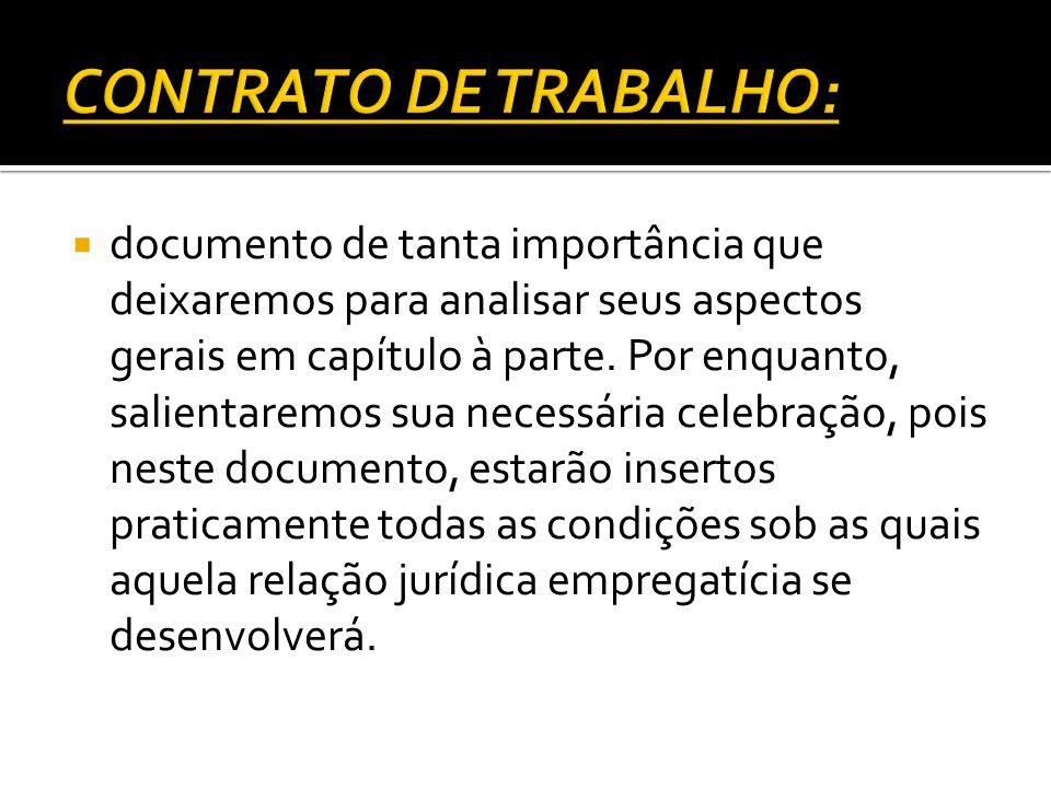 CONTRATO DE TRABALHO: