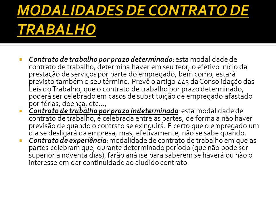 MODALIDADES DE CONTRATO DE TRABALHO