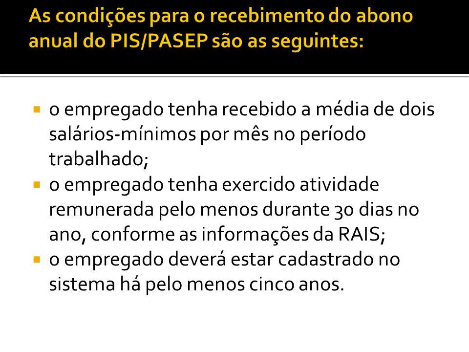 As condições para o recebimento do abono anual do PIS/PASEP são as seguintes: