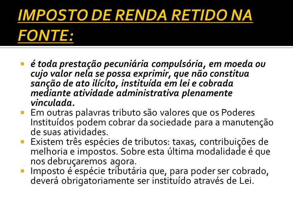 IMPOSTO DE RENDA RETIDO NA FONTE: