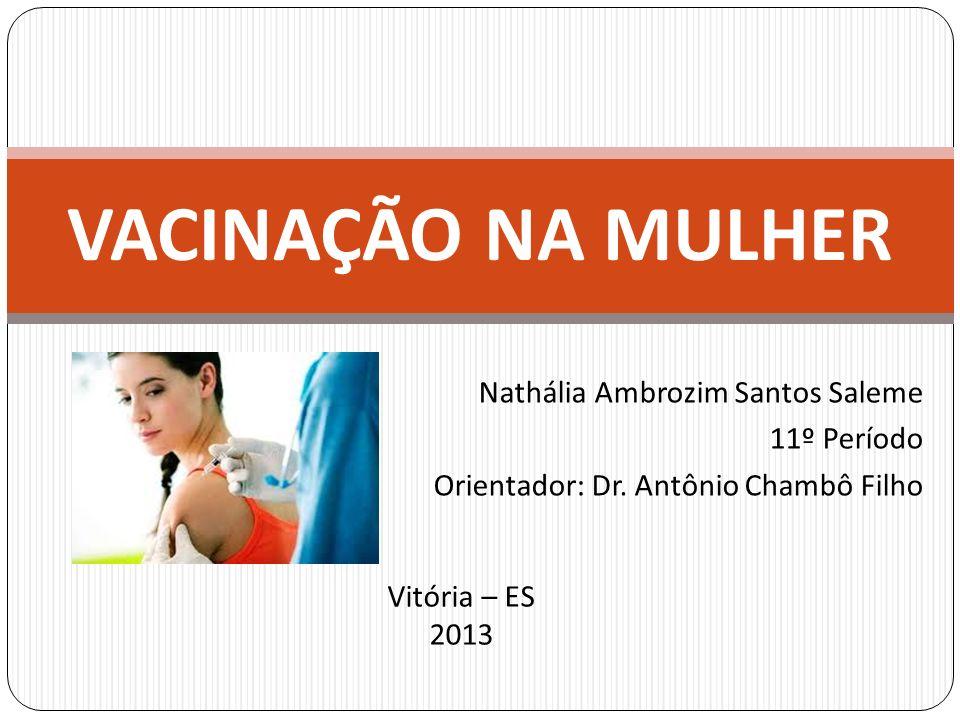 VACINAÇÃO NA MULHER Nathália Ambrozim Santos Saleme 11º Período