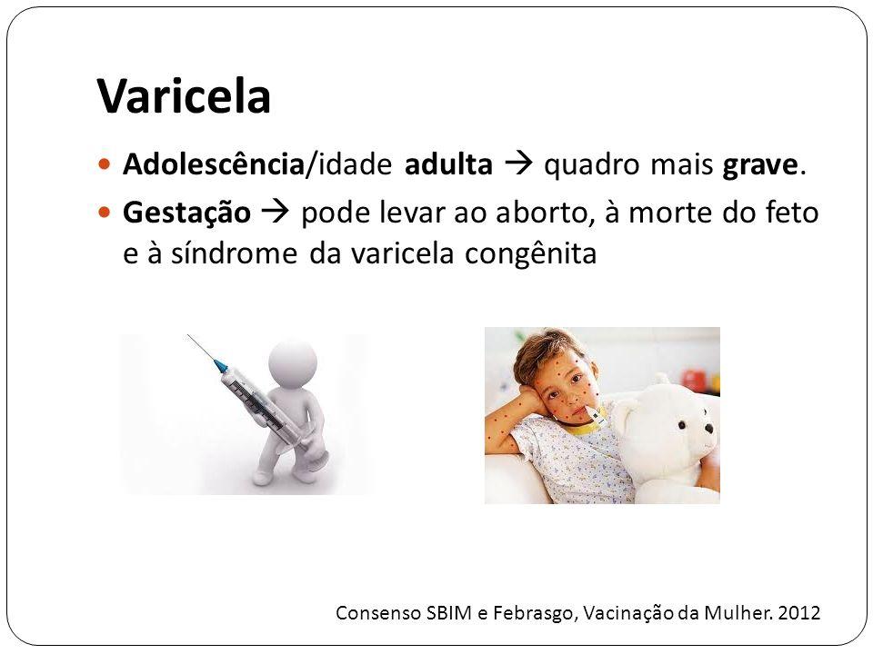 Varicela Adolescência/idade adulta  quadro mais grave.