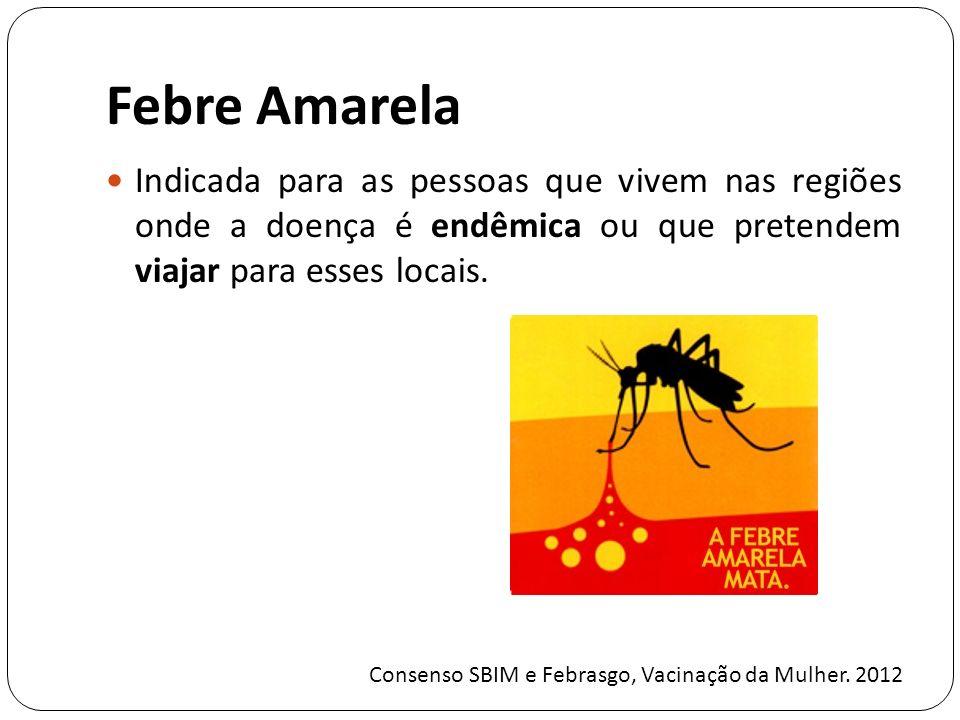 Febre Amarela Indicada para as pessoas que vivem nas regiões onde a doença é endêmica ou que pretendem viajar para esses locais.
