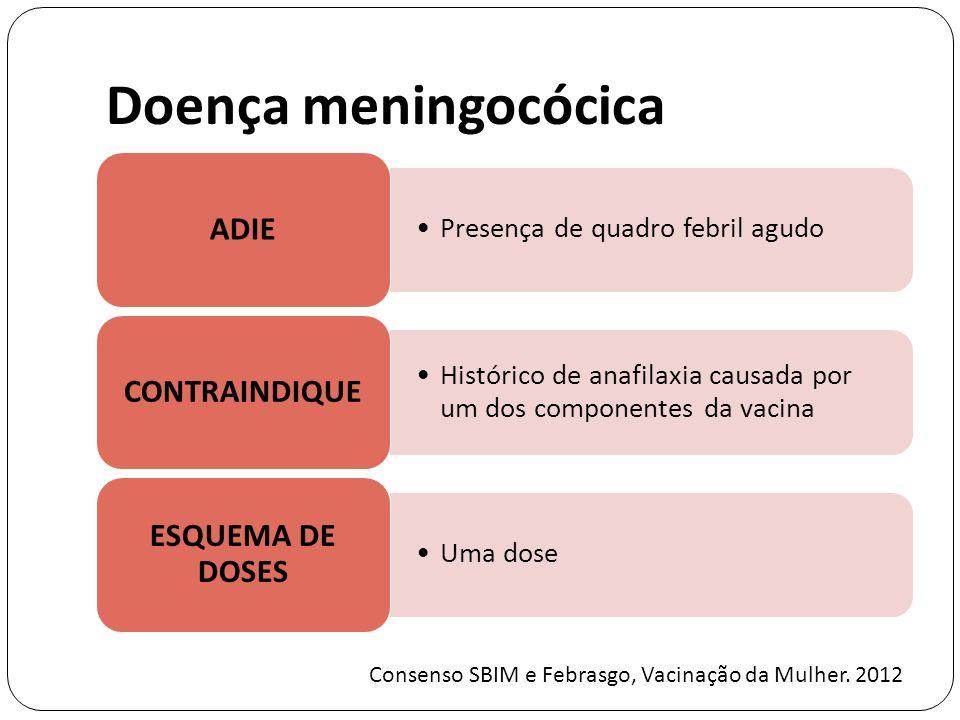 Doença meningocócica ADIE. Presença de quadro febril agudo. CONTRAINDIQUE. Histórico de anafilaxia causada por um dos componentes da vacina.