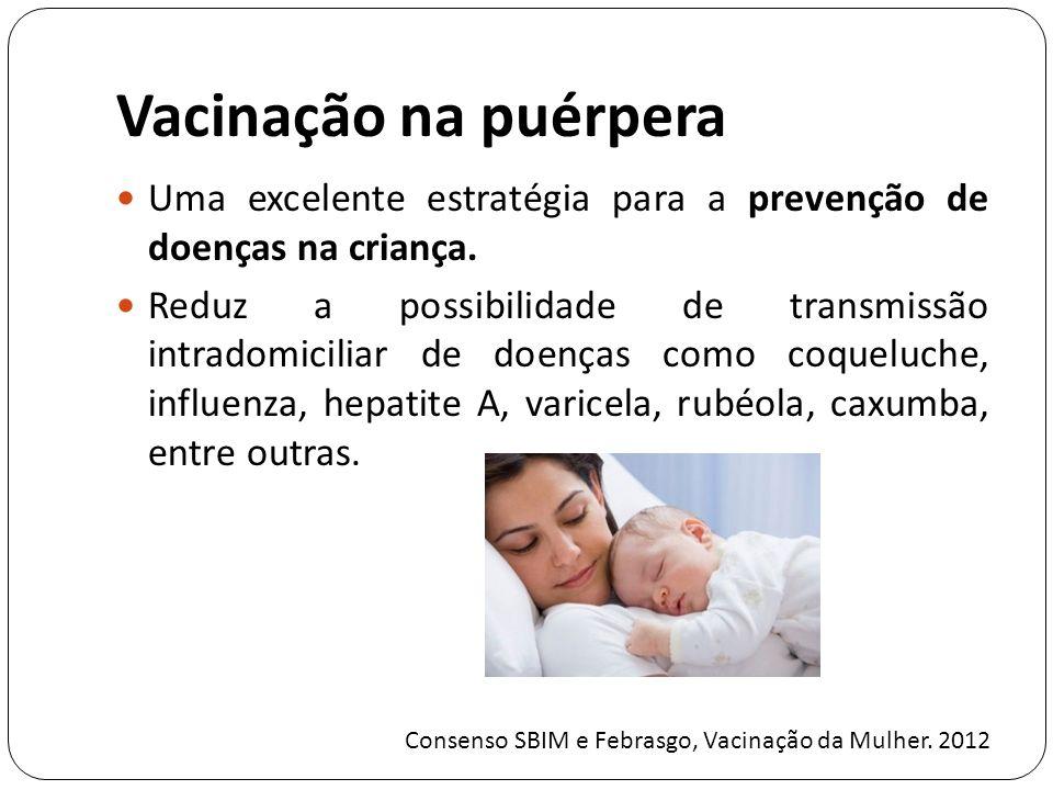 Vacinação na puérpera Uma excelente estratégia para a prevenção de doenças na criança.