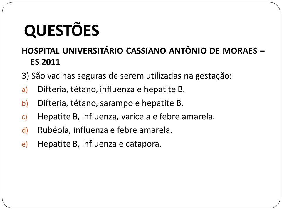 QUESTÕES HOSPITAL UNIVERSITÁRIO CASSIANO ANTÔNIO DE MORAES – ES 2011