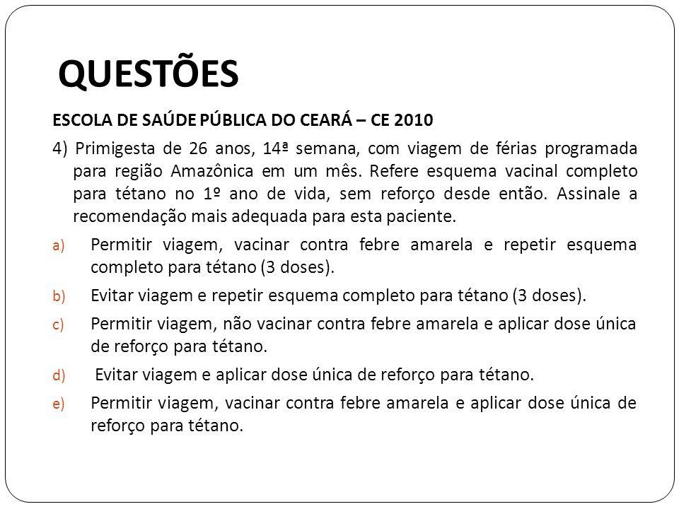 QUESTÕES ESCOLA DE SAÚDE PÚBLICA DO CEARÁ – CE 2010