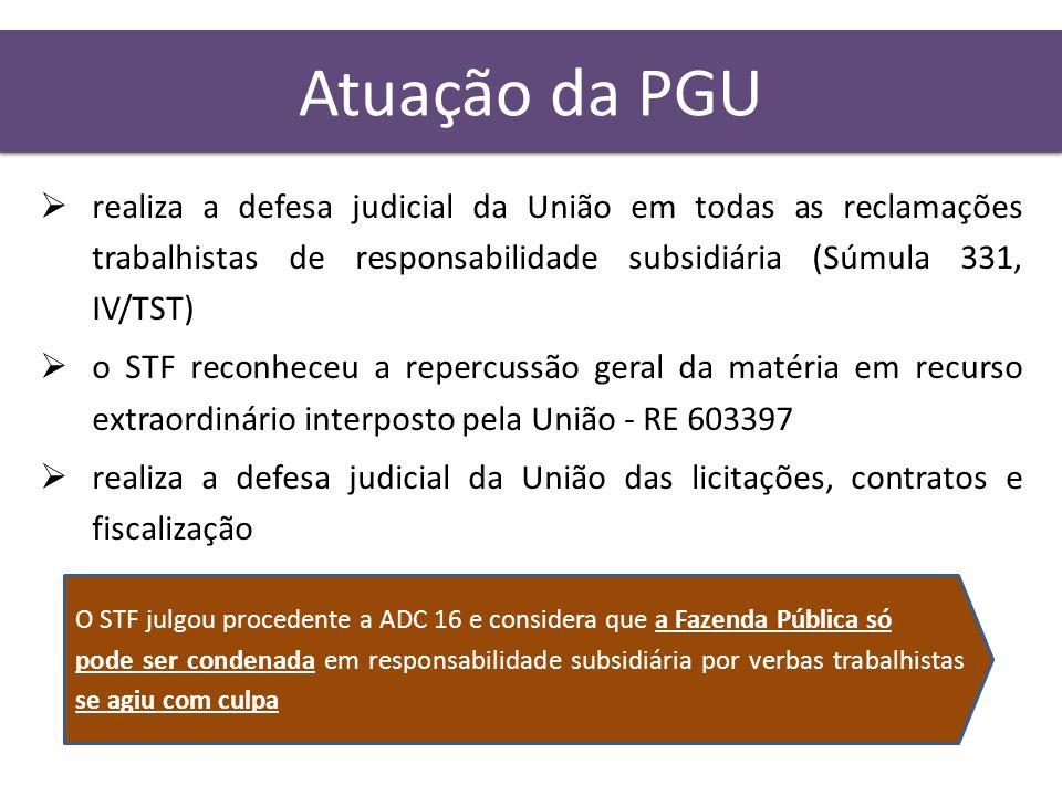 Atuação da PGU realiza a defesa judicial da União em todas as reclamações trabalhistas de responsabilidade subsidiária (Súmula 331, IV/TST)