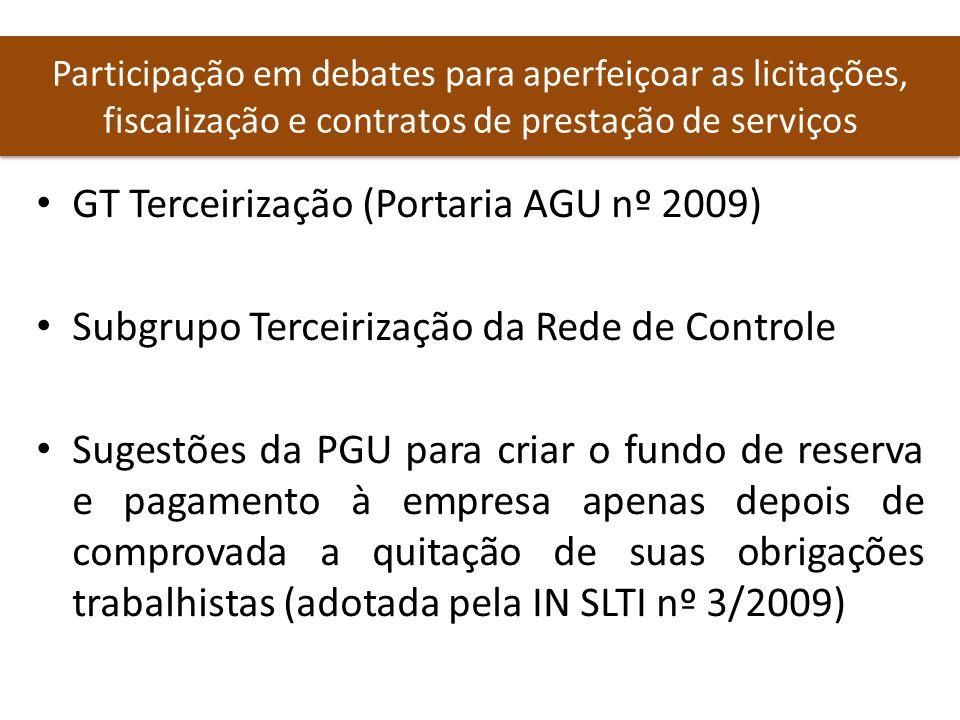 GT Terceirização (Portaria AGU nº 2009)