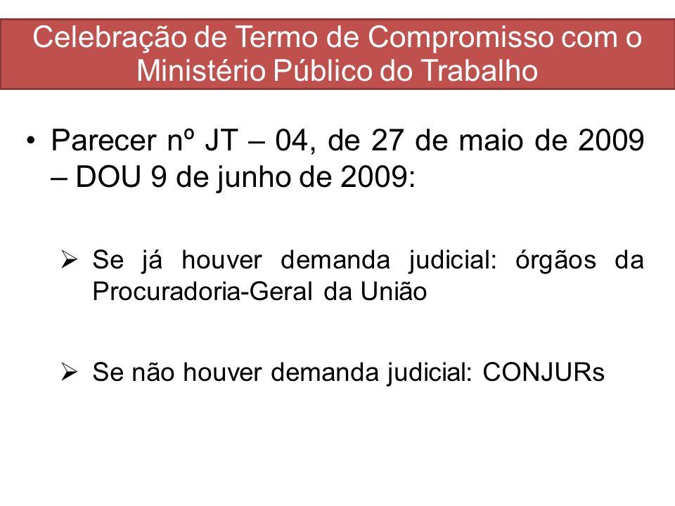 Parecer nº JT – 04, de 27 de maio de 2009 – DOU 9 de junho de 2009: