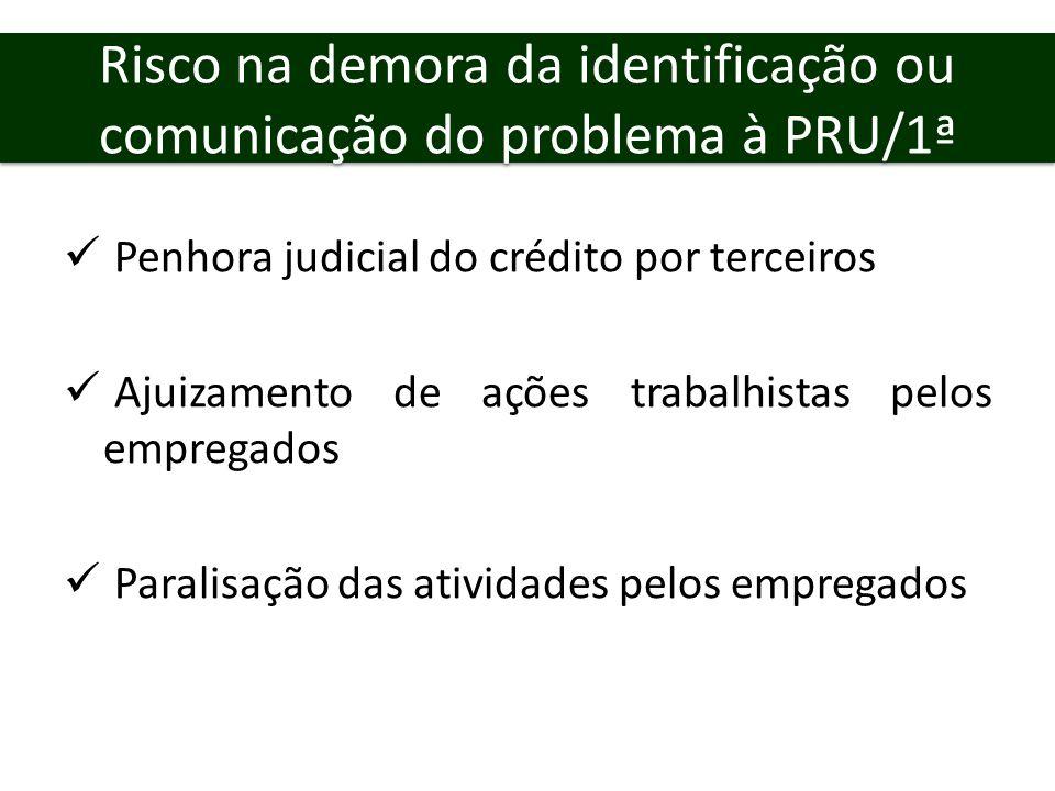 Risco na demora da identificação ou comunicação do problema à PRU/1ª