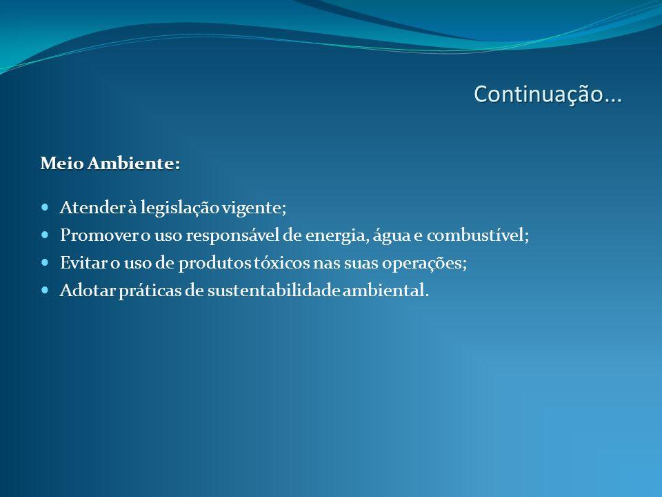 Continuação... Meio Ambiente: Atender à legislação vigente;