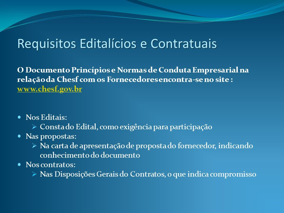 Requisitos Editalícios e Contratuais