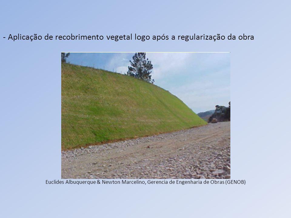 - Aplicação de recobrimento vegetal logo após a regularização da obra