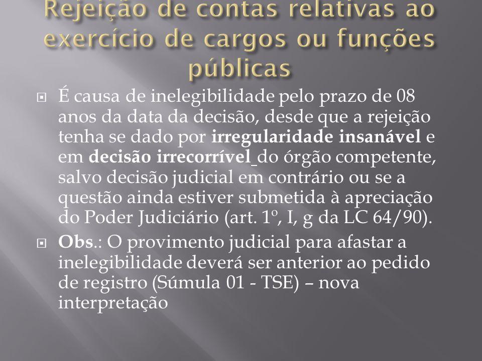 Rejeição de contas relativas ao exercício de cargos ou funções públicas