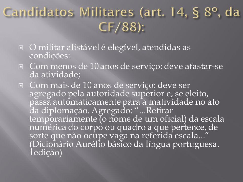 Candidatos Militares (art. 14, § 8º, da CF/88):
